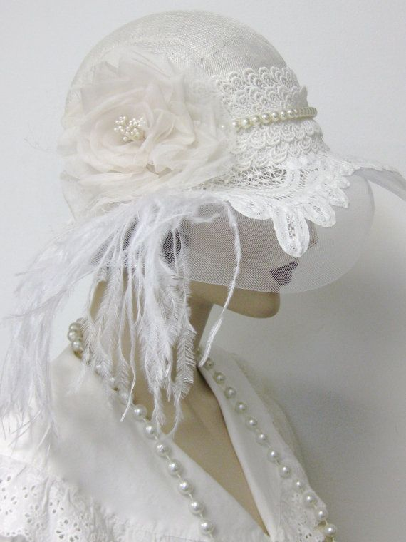 1920 Flapper boda Cloche/reservado para por ThistleCottageStudio☆☆☆                                                                                                                                                                                 Más