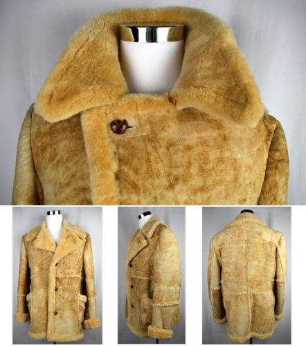 VTG-SEARS-Genuine-Shearling-Mountain-Man-Sheepskin-Coat-Western-Marlboro-42-Tall