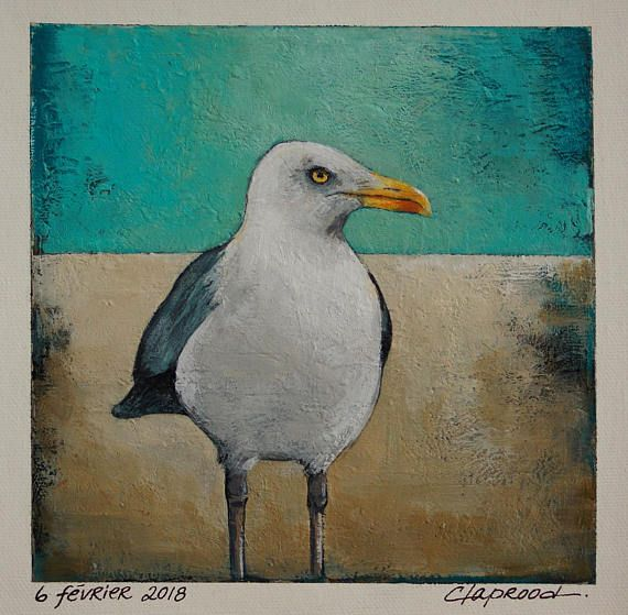 Seagull painting white bird picture gull image small blue &