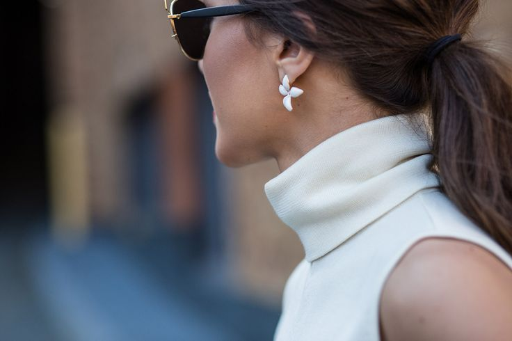 SS16 streetstyle detail  turtle-neck shirt slower earrings low ponytail