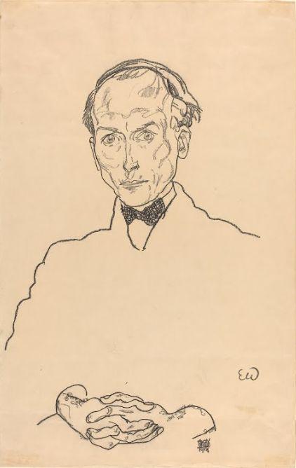 Egon Schiele, Ritratto del Dr. Ernst Wagner, 1918, matita nera su carta. Washington DC, National Gallery of Art.