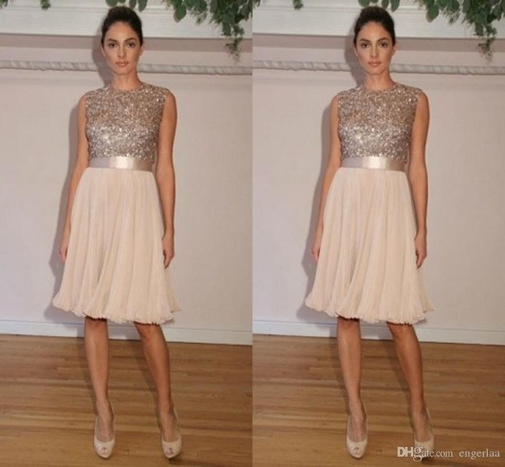 Junior Bridesmaids Dresses Sequin Bodice Bling Bridesmaid Dresses Jewel Neck Chiffon Short Maid Of Honor Gowns For Beach Wedding Party/Prom Girls 2015 Hc0320 Lazaro Bridesmaid Dresses From Engerlaa, $86.92| Dhgate.Com