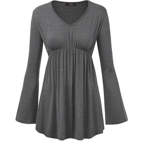 MBJ Womens V Neck Long Sleeve Empire Waist Tunic Top Made in USA ($9.95) ❤ liked on Polyvore featuring tops, tunics, empire line tops, v-neck tops, v-neck tunic, long sleeve tops and empire waist top