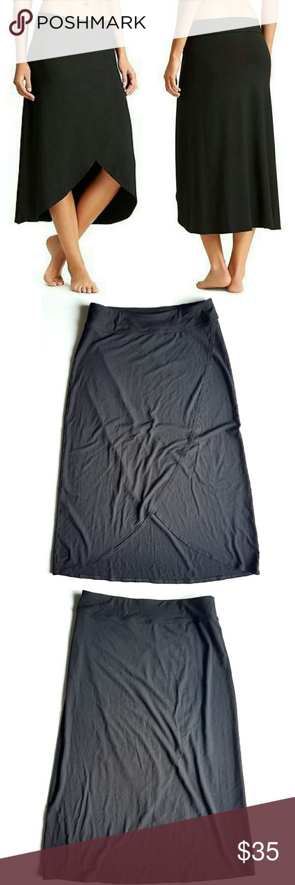 "Athleta Black Ribbon Skirt So comfortable. Elastic waistband and wrap front Hi-Low fit. 15"" waist,  30"" long.  In excellent LIKE NEW condition. Athleta Skirts Midi"