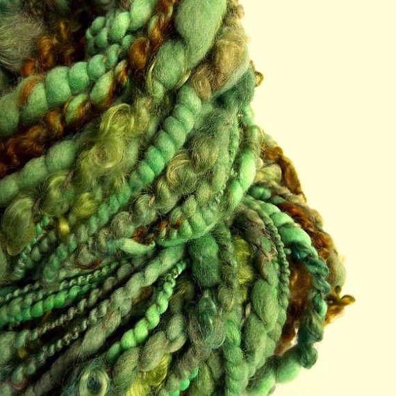 Green Yarn Handspun Yarn Hand Spun Yarn Knitting Supplies