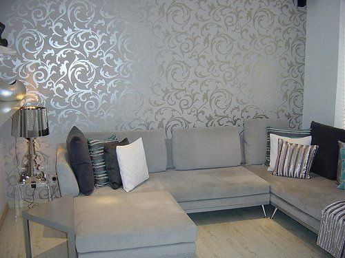 Elegant Grey Wallpaper Living Room by BrunchatSaks, via Flickr  LOVE THIS METALLIC WALLPAPER
