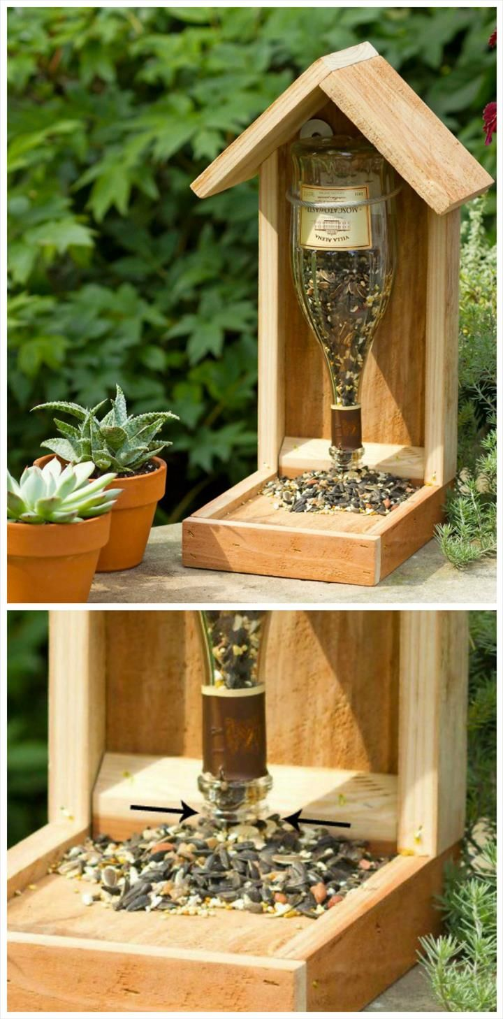 Easy Wood and Old Glass Bottle Bird Feeder - 89 Unique DIY Bird Feeders - Full Step by Step Tutorials - Page 5 of 6 - DIY & Crafts