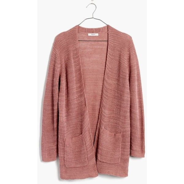 MADEWELL Postscript Cardigan Sweater ($65) ❤ liked on Polyvore featuring tops, cardigans, dried petal, madewell cardigan, cardigan top, ribbed cardigan, red cardigan and ribbed top