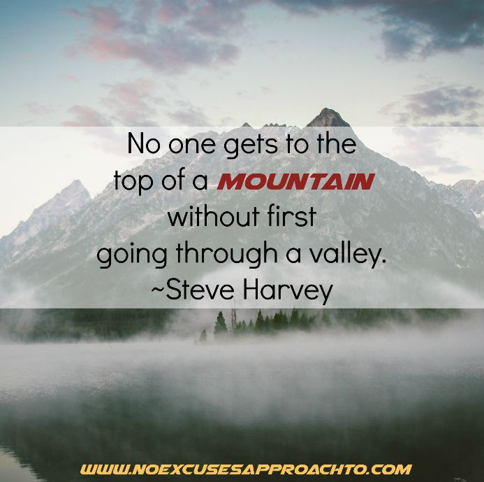 No one gets to the top of a mountain without first going through a valley. ~Steve Harvey