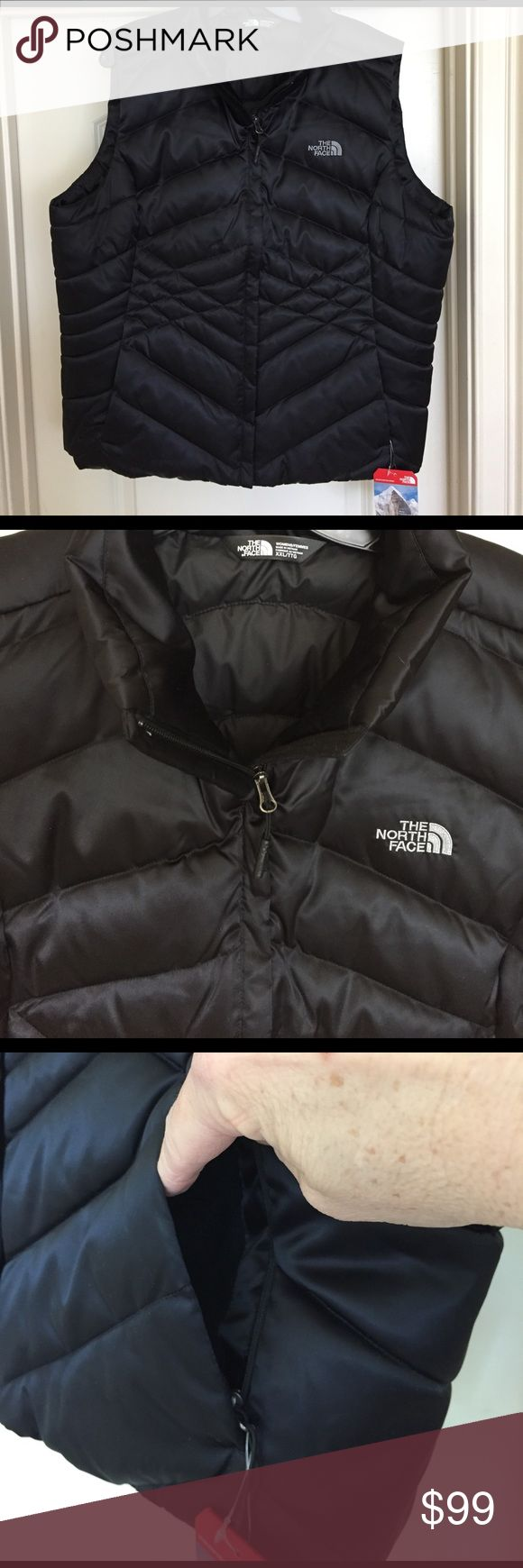 NWT NORTH FACE DOWN VEST LADIES XXL. This is an awesome NORTH FACE down vest NWT. Black with a shine not dull like some. It is so cute! Ladies XXL. I hate to part with it but it is just too big for me. North Face Jackets & Coats Vests