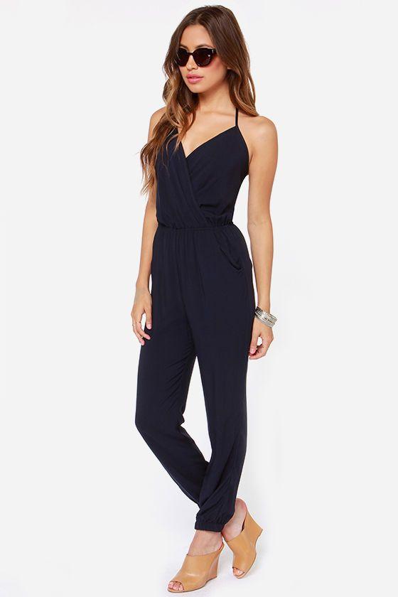 Womens Navy Blue Jumpsuit Breeze Clothing