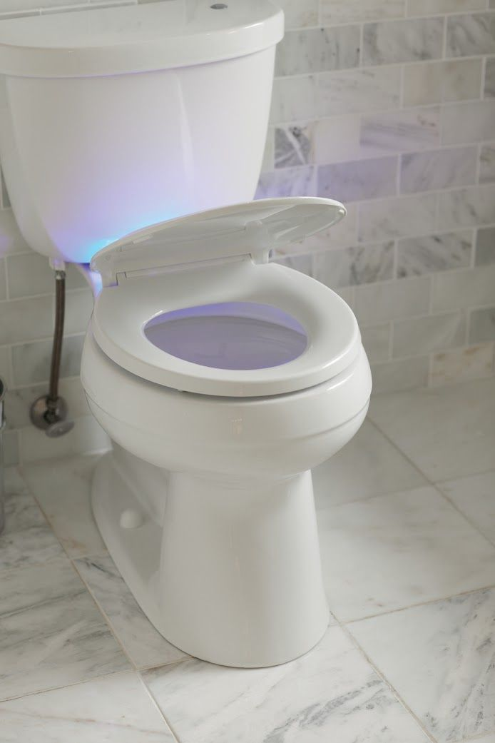 Kohler cachet led nightlight round quiet closed front for Touchless toilet seat