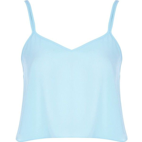 River Island Light blue cami crop top (19 BRL) ❤ liked on Polyvore featuring tops, crop top, shirts, sleeveless tops, sale, cami crop top, cami top, light blue top and sleeveless crop top