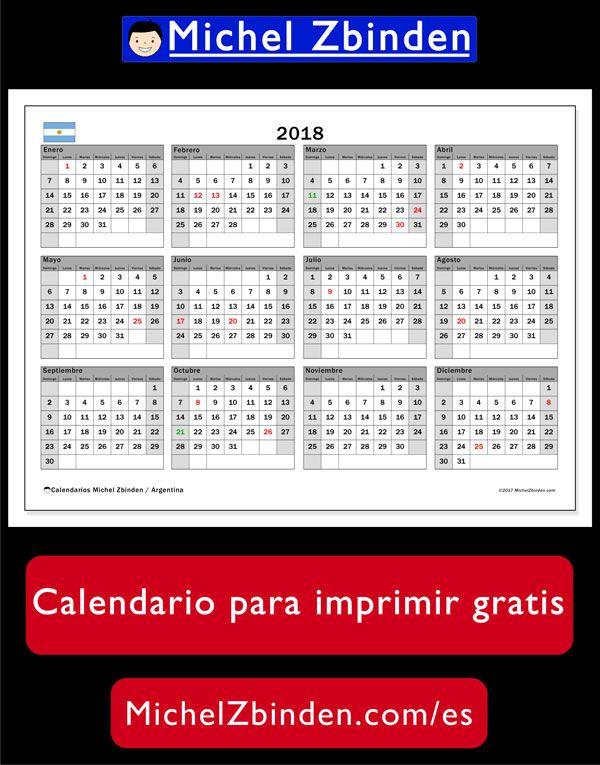 Calendario 2018, Argentina