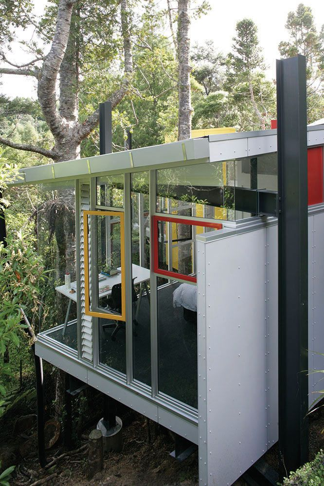 Splashes of colour with bright window framing at McCahon Artist's Residence.