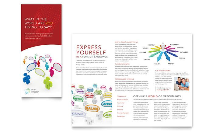 Language Learning Tri Fold Brochure Template Design By