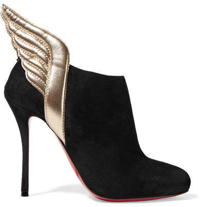 fa89247a51c2 Christian Louboutin - Mercura 100 Metallic Leather-trimmed Suede Ankle  Boots - Black