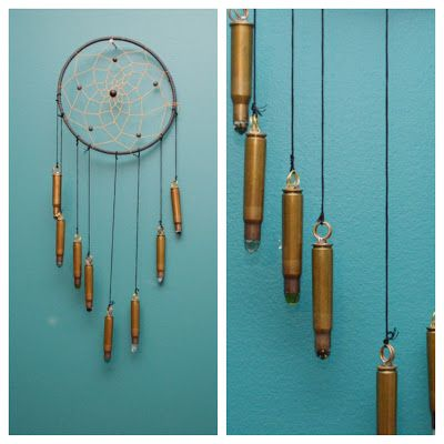 studs and pearls: DIY Bullet dream catcher - look at how it's fastened