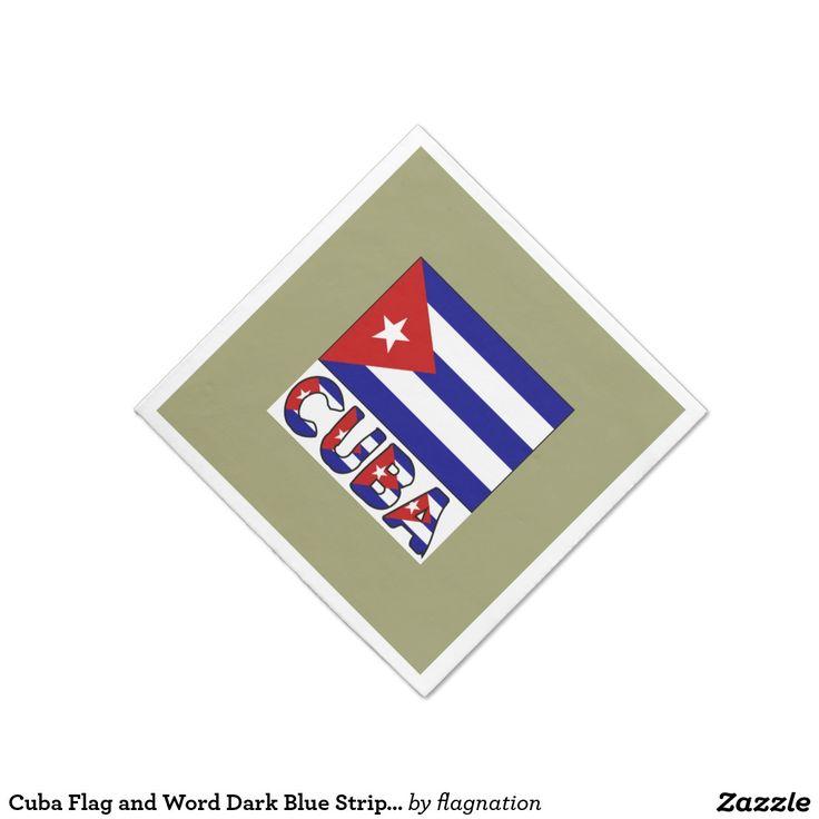 Cuba Flag and Word Dark Blue Stripes Standard Cocktail Napkin