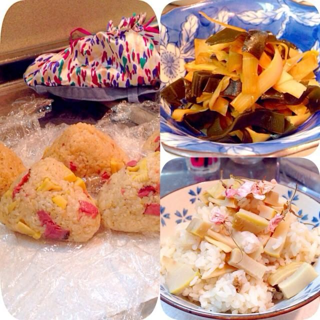 生筍料理♪memo❀❀  なんとかして素材を味わいたい。 凝った筍料理は、長期保存する筍の水煮を使いたい。   姫皮は、梅マヨ和え以外に、 ダシを取った後の昆布と一緒に佃煮へ♡   桜の塩漬けと生筍の炊込みご飯も美味しかった♡♡    転職をして、明日は初出勤だからおにぎりを作ってみた♪ 子どもの日があったので、 おうちにある食材で、簡単ちまき風醤油おにぎりに♡♡♡   ✿水、中華鶏ガラスープ、醤油、酒、塩、ごま油、あらびき胡椒  に生筍と、スモークあらびき胡椒牛肉を30分以上漬ける。  もち米がないので、あごダシと昆布、醤油、みりん、酒で炊いたご飯をにんにくとごま油で炒めてから、漬け汁も一緒に混ぜて炒める♪ 最後に、火を止めてから具材も一緒に混ぜる♪♪ 出来上がったら、炊飯器で蒸し中。  多めに作って冷凍へ。  カワイイお弁当箱と、水筒袋もゲットしなきゃ❀❀❀   食材が豊富なお弁当を目指す☻❀❀❀ - 7件のもぐもぐ - ♡桜塩漬けと生筍炊込みご飯♡昆布、姫皮の佃煮♡子どもの日があったので、簡単ちまき風醤油おにぎり♪♪♪ by emiko0801