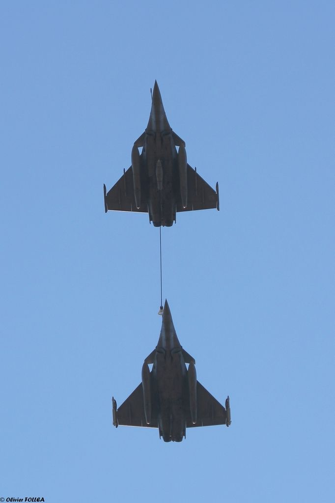 Two Dassault Rafale M (Marine), here buddy refuelling are the nuclear component required by the French Marine Nationale.