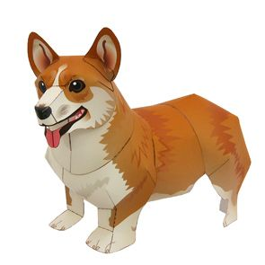 Papercraft de un Perro Corgi Gales. Manualidades a Raudales.