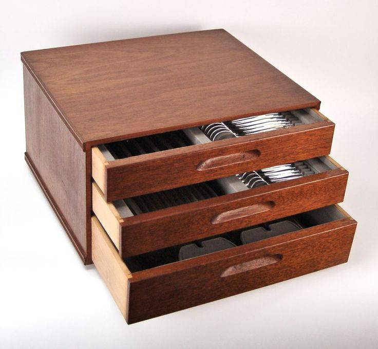 Mid-Century Modern 79 Pc Sterling Silver Flatware Set in Teak Fitted Chest  #na