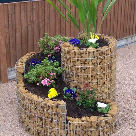 Unique flower pot or container ideas steel mesh and stones
