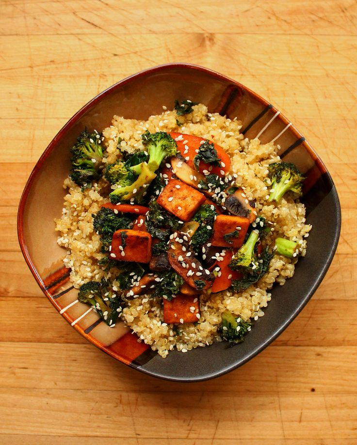 Quinoa cooked in vegetable broth, stir-fried broccoli, kale, carrot ...