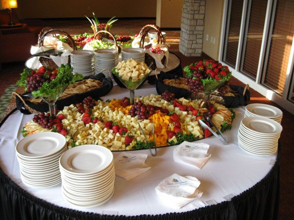 Fruit and cheese table for a wedding at Honey Creek Resort State Park near Moravia, Iowa