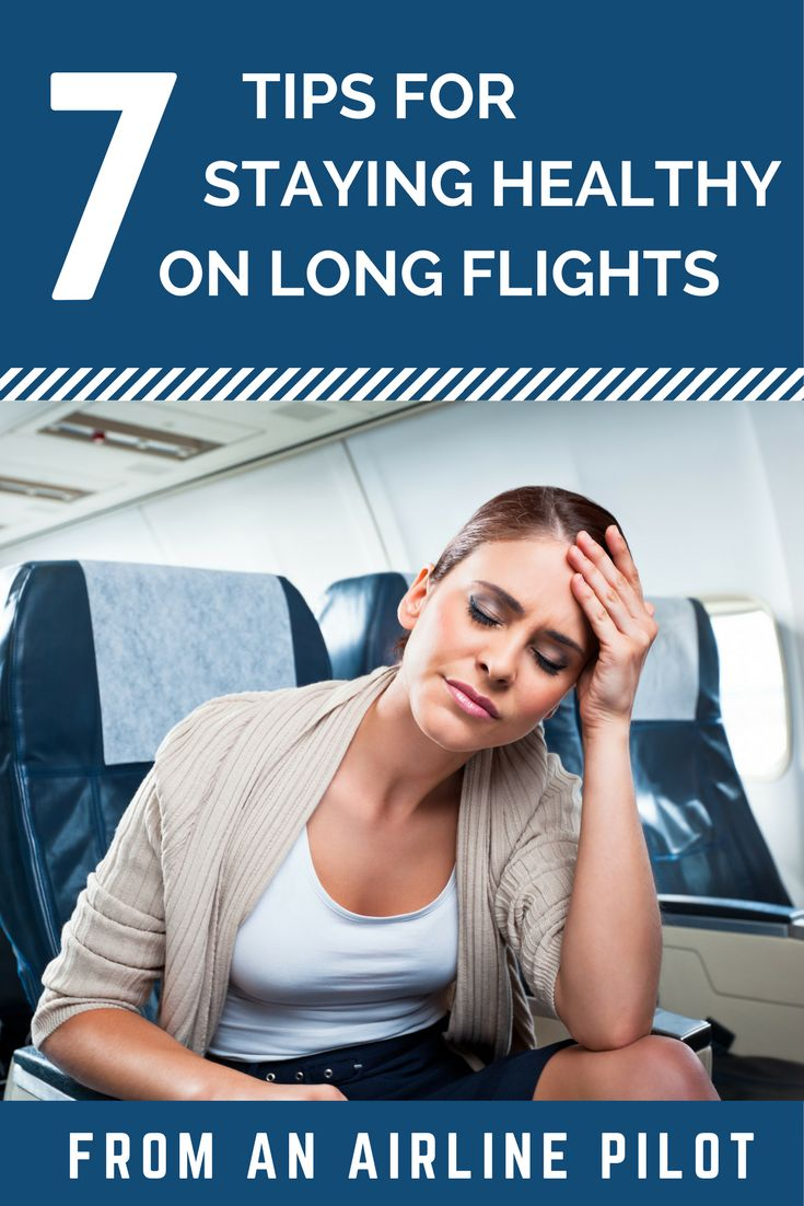 Share these 7 expert tips from an Airline Pilot about how to stay healthy while flying on long flights. These simple tips will help you to stay healthy for travellers, frequent flyers and business travelers; Anyone that takes flights should know these travel hacks!