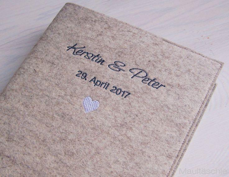 Ringbuch Gästebuch Filz bestickt . Hochzeit . personalisiert