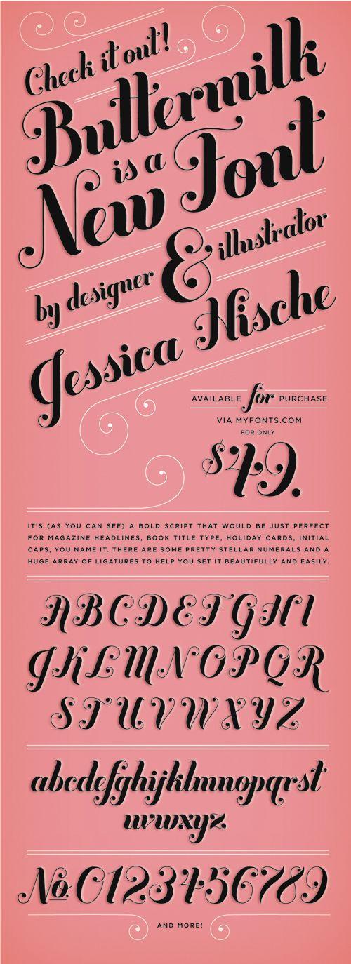 """Buttermilk"" font announcement by Jessica Hische"