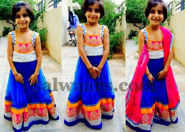Cute Girl in Blue and White Skirt | Indian Dresses