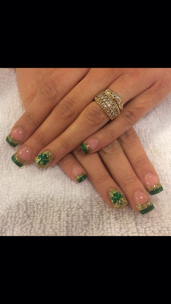 Gold   Easy St Patricks Day Nail Designs   Easy Nail Art for Beginners Step by Step