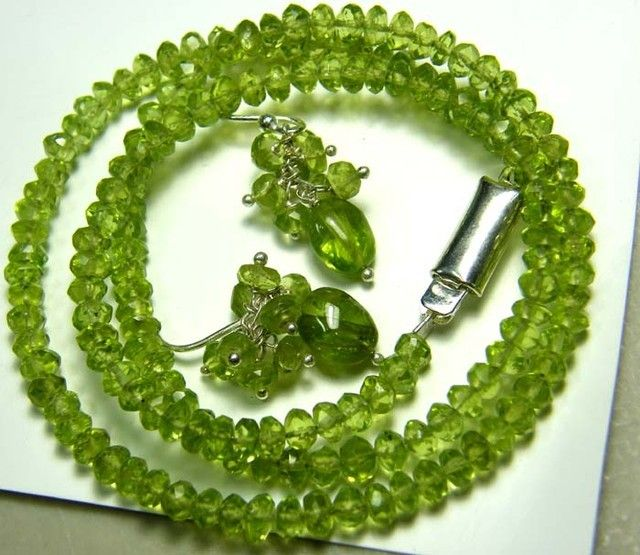 PERIDOT FACETED NECKLACE EARRING SET 88 CTS NP-1968 peridot necklace and earing set , gemstone set necklace and earrings, gemstone set