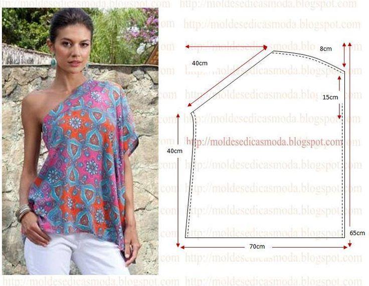 PASSO A PASSO MOLDE DE BLUSA Corte dois retângulos de tecido com a altura e largura que pretende. Sobreponha os retângulos. Desenhe a linha do decote, com