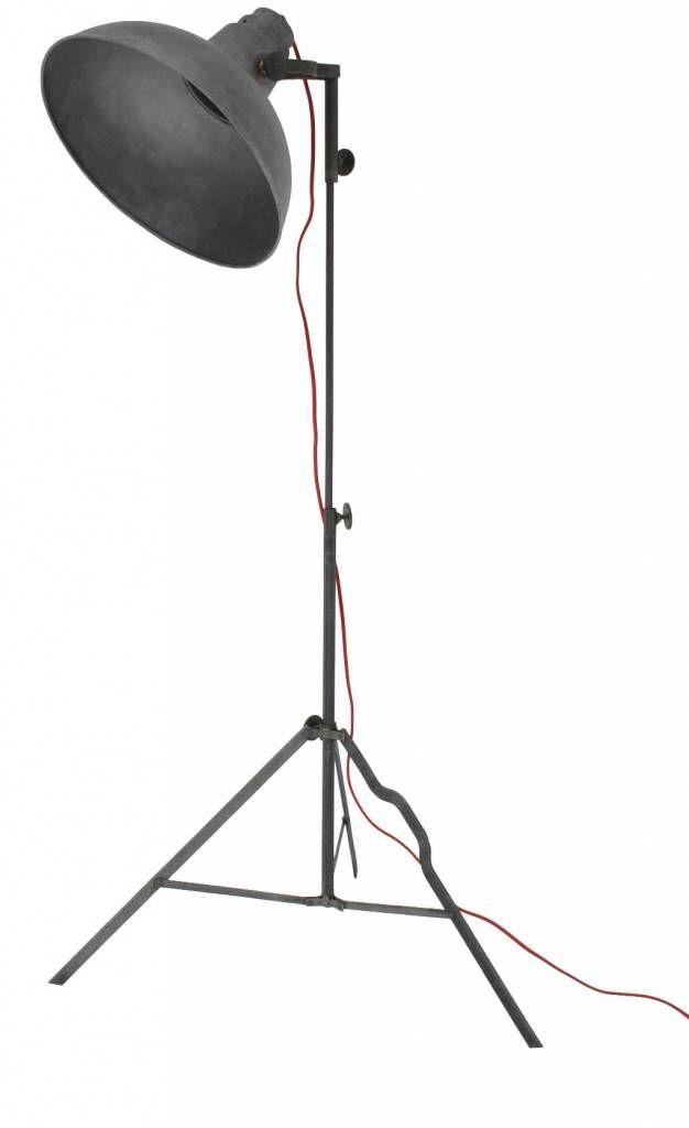 HK-living Vloerlamp grijs metaal 90-160cm hoog