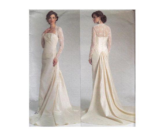 Sheath Wedding Gown Pattern : Vogue designer wedding dress pattern sheath gown with train