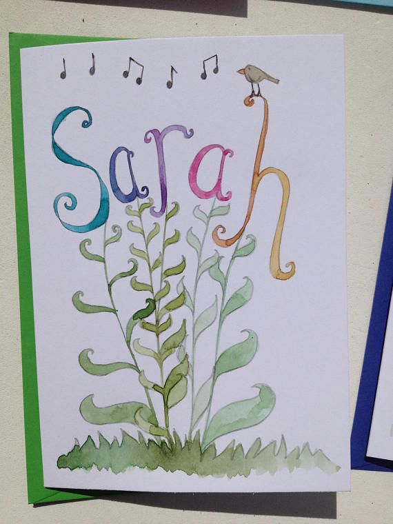 Watercolour hand painted card with stems and leaves leading to letters of name or word of your choice. Option of a bird singing perched on the name or word. Pictures shown in this listing are examples only and not for sale, I am able to reproduce words shown or create new names -