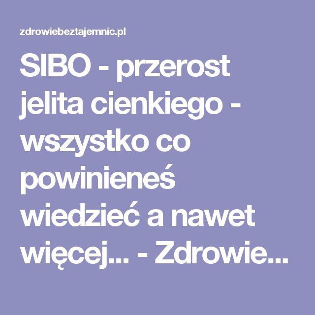SIBO - przerost jelita cienkiego - wszystko co powinieneś wiedzieć a nawet więcej... - Zdrowiebeztajemnic.pl