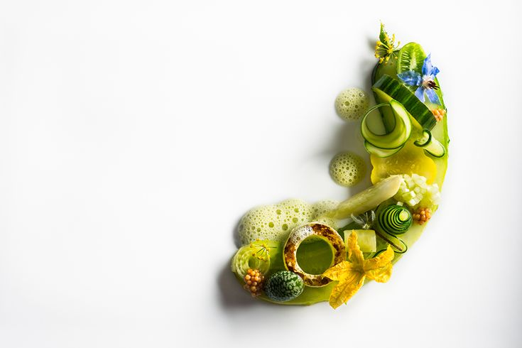 Cucumber salad with sliced, diced, and charred cucumbers, cucumber wedges, cucamelon, cucumber blossoms, fennel flowers, pickled mustard seeds, and borage flowers by chef Daniel Humm of Eleven Madison Park, NYC. © Francesco Tonelli - See more at: http://theartofplating.com/editorial/francesco-tonelli-chef-to-photographer/#sthash.Kpy8vXb1.dpuf