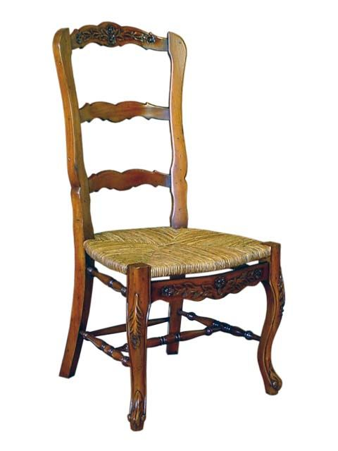 French Country Diner Chair. #HandmadeFurniture from solid Mahogany wood with #RushSeat by #sokokayu