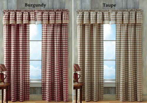 Buffalo Check Primitive Country Curtain Panel Taupe 42 Quot X