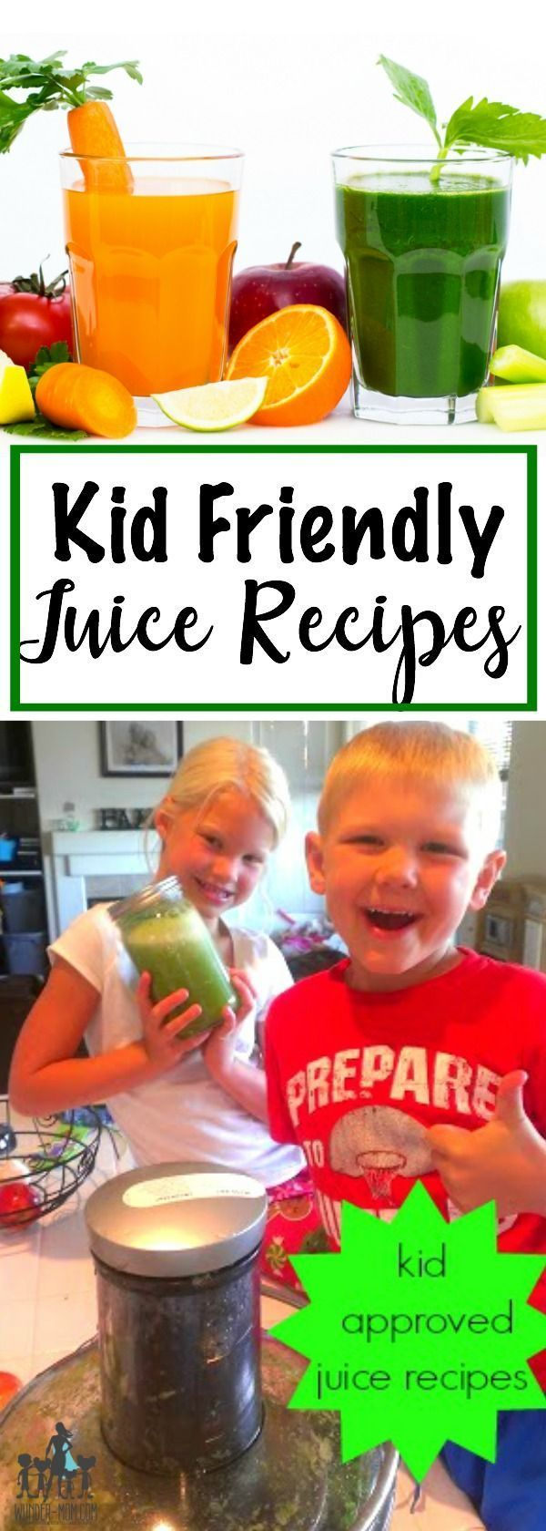 Kid Friendly Juice Recipes - if you have picky eaters and are having trouble getting your kids to eat their veggies these kid friendly green juice and orange-carrot juice recipes are a must try!