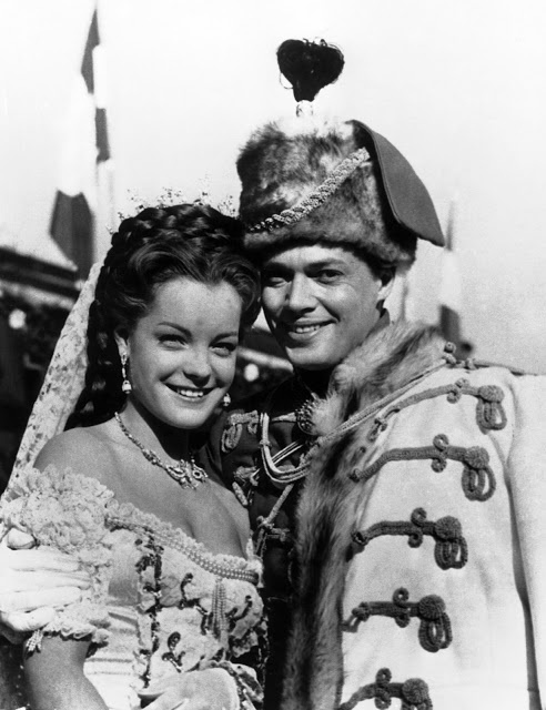 "Romy Schneider and actor Karl Henry Bohm during the movie shoot ""Sissi,"" 1955"