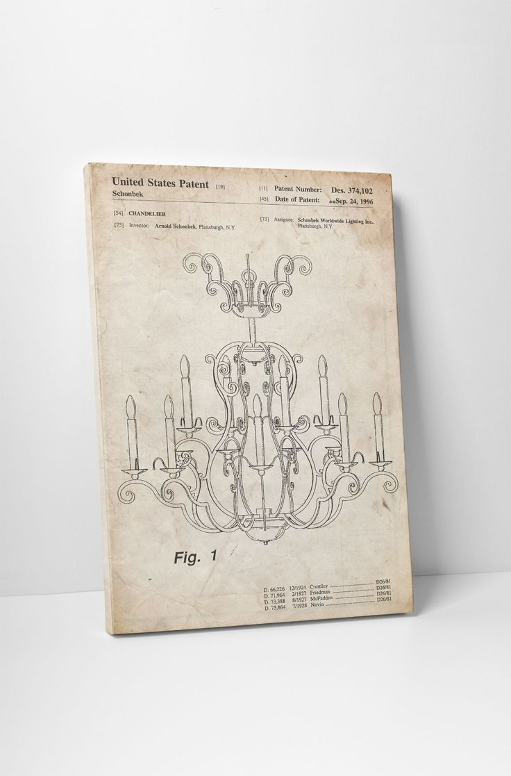 Chandelier Patent Print Gallery Wrapped Canvas Print. Bonus Patent Wall Decal!