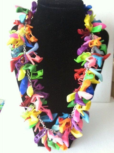 BARBIE SHOE Necklace Heels Doll Shoe Multi Jewelry BARBIE jewelry shoes pumps. $150.00, via Etsy.