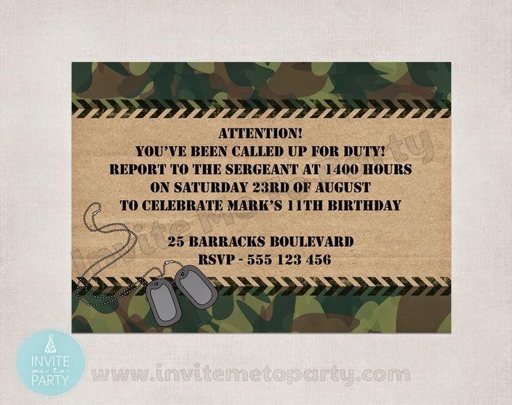 Invite Me To Party: Army Invitation | Camo Party