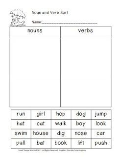 10 best nouns and verbs worksheets images on pinterest vocabulary writing and 1st grades. Black Bedroom Furniture Sets. Home Design Ideas